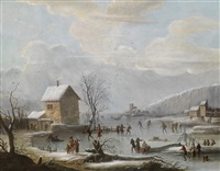 winterlandschaft mit eisläufern by jules cesar denis van loo