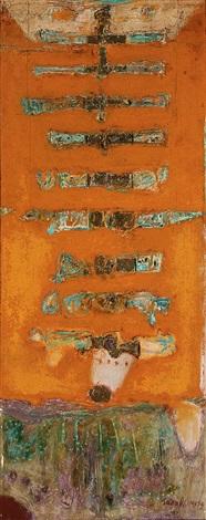 untitled abstract of nine gold bars by ahmad sadali