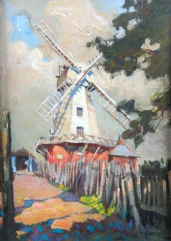 the old smock mill kent by terence cuneo