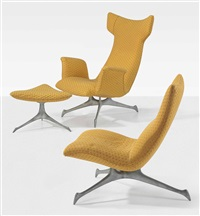 contoured wing armchair, a contoured side chair, and a tri-symmetric' foot stool by vladimir kagan
