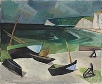 havsvik med båtar by georg lodstrom