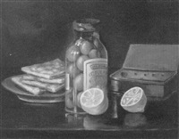 still life of olives and lemons on a tabletop by edith tadd little