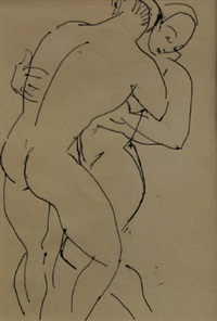 two figures embracing by duncan grant