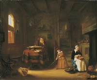 a philosopher in an interior with a child playing and a woman peeling apples by salomon koninck