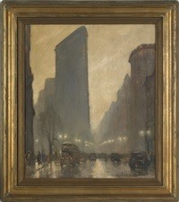 new york street scene by bela de tirefort