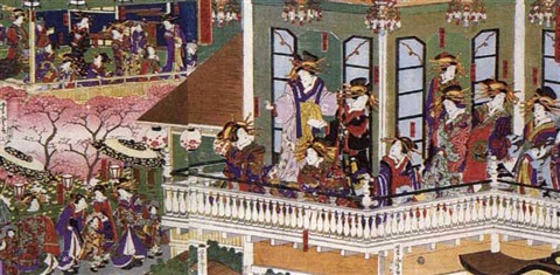 desfile de oirans jefas de geishas en las casas más famosas de yoshihara with text triptych by utagawa yoshitora