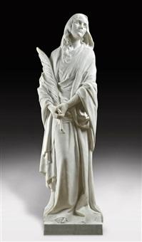 mujer sosteniendo una hoja en una de los brazos by henri léon greber