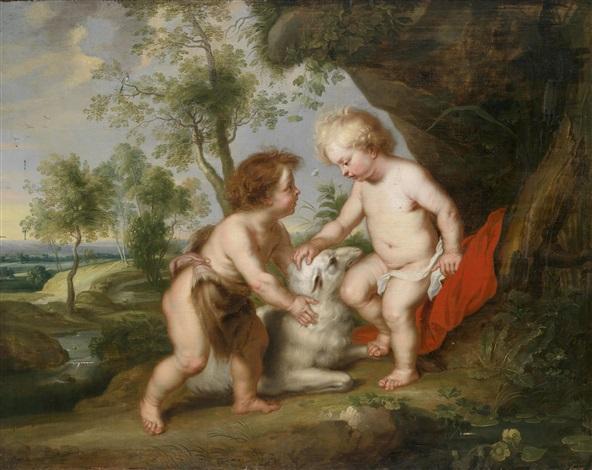 der christusknabe mit dem kindlichen johannes dem täufer in einer landschaft by sir peter paul rubens