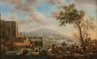 scènes de chasse à courre (pair) by philips wouwerman