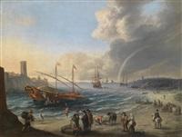 eine mediterrane küstenlandschaft mit anlandender galeere und weiteren schiffen auf reede by cornelis de wael