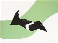 reclining figure on green wave by lynn chadwick