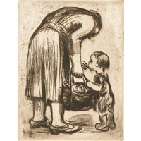 sharpening the scythe; praying girl; mother feeding child (3 works) by käthe kollwitz