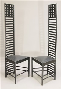 2 hillhouse chairs 1, mod. 292 (set of 2) by charles rennie mackintosh