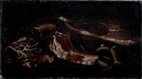scorfano e due triglie su un piano; porzioni di carne, salsiccia e un slame su un piano (2 works) by tommaso realfonso