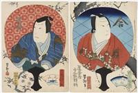 der schauspieler kataoka gado in einer nicht identifizierten rolle, gekleidet in einen roten kimono mit kirschblüten-dekor (+ another; 2 works) (chûban) by yoshitaki