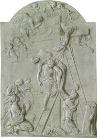 trompe-l'oeil eines steinbasreliefs mit einer kreuzabnahme by caspar franz sambach