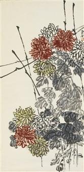 chrysanthemums on a fence by baishi laoren