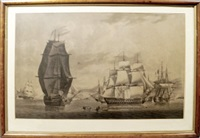 battle of algeciras; gibraltar bay (pair) by robert dodd