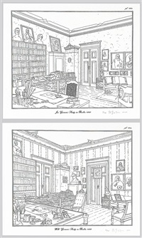 rodney graham drawings - brüder grimm museum kassel and jacob grimm's studio in berlin - wilhelm grimm's studio in berlin (6 works) by rodney graham
