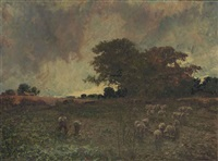 a cloud rift: labourers in a turnip-field, under a stormy sky by joseph langsdale pickering