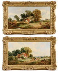 A Pair of Sussex Farmstead Landscapes, 1859–1861