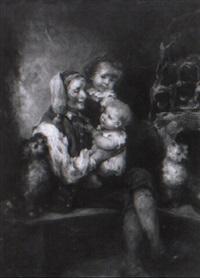 großvater mit enkelkindern auf der ofenbank by hermann kay