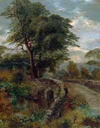 a highland glen with figure crossing a bridge by clarence henry roe