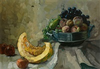 stilleben mit melone, trauben, pfirsichen und äpfeln by hilde boklin