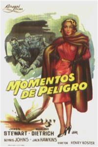 "movie: james stewart and marlene dietrich in ""momentos de peligro"" by jano (francisco f. zarza)"