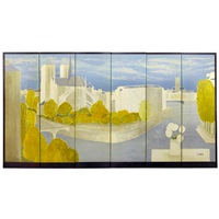 white roses dedicated to paris, folding screen in 6 pieces by bernard cathelin