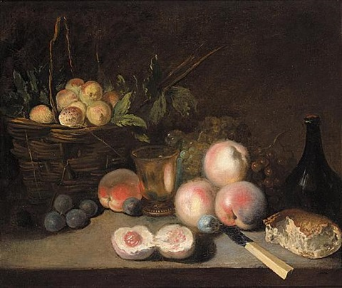 still life with apricots in a basket, peaches, plums, a bun, a bottle and a bronze cup with a bunch of grapes and a knife by jean baptiste siméon chardin