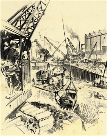 new dry dock - palmers (+ 9 others; 10 works) by terence cuneo
