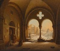 klostergang im winter by carl georg adolph hasenpflug