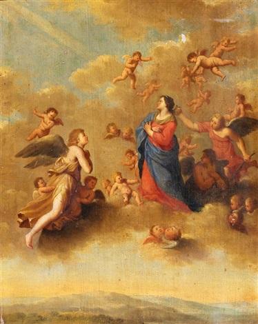 maria in den wolken by cornelis van poelenburgh