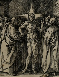 christ appears to the disciples, doubting thomas (from the small passion) by albrecht dürer