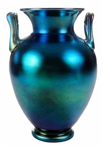 Steuben Blue Aurene Vase With Handles By Steuben Glass On Artnet