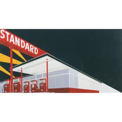 standard station (night), after ed ruscha (from pictures of cars) by vik muniz