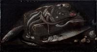 polpo, cefali, aguglia, frutti di mare e altri pesci su un piano con cesta; aragoste e frutti di mare su un piano (2 works) by tommaso realfonso