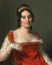 portrait of a lady, half-length seated, dressed in a red dress with tulle sleeves and gold trim and wearing a tiara by jérome-martin langlois