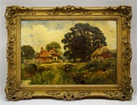 figure on a stone bridge with cattle, cottages and woodland by henry john yeend king
