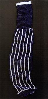 dark blue sock with white stripes by liza lou