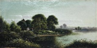 clandon lake, near guildford, surrey by edwin henry boddington