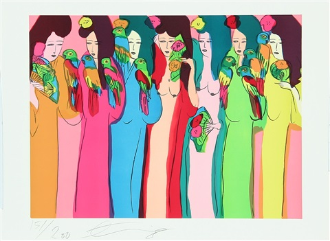 seven geishas with parrots by walasse ting
