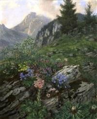 alpenblumen im gebirge by ludwig bartning