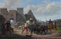 ochsengespann vor der porta san paolo in rom by dietrich wilhelm lindau