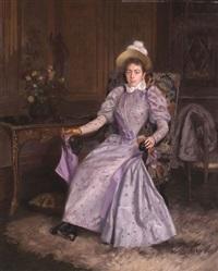 dame in einem lehnstuhl by basile lemeunier