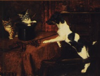 two cats in a hat surprise the terrier by bernard de gempt