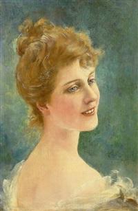 portrait einer jungen rotblonden frau vor grün changierendem hintergrund by john leighton