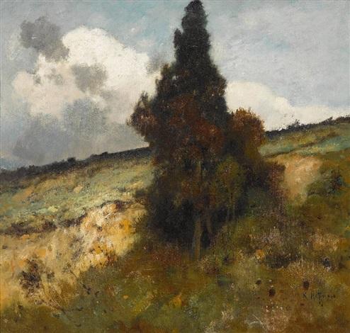 landschaft bei aufziehendem gewitter by karl heffner