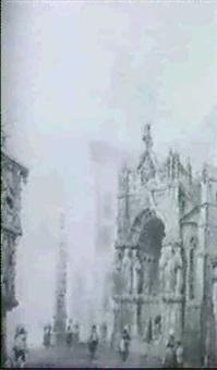 ansicht einer mittelalterlichen stadt, portal der      kathedrale by gustave adolphe simonau